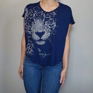 Blue Flowy Jaguar Shirt Forever 21 Medium